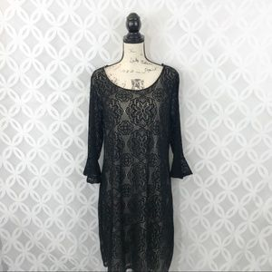 Avenue Crochet 3/4 Ruffle Sleeve Sheath Dress